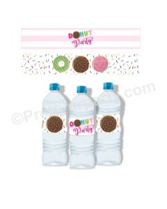 Donut Theme Water Bottle Labels