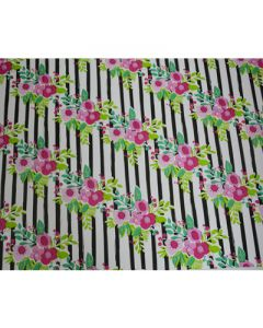 Black Stripes with Flowers Wrapping paper (pack of 5)