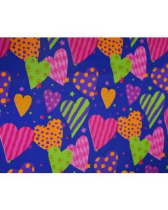 Blue Colourful Big Hearts Wrapping paper (pack of 5)