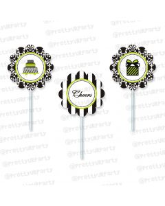 elegant damask cupcake / food toppers