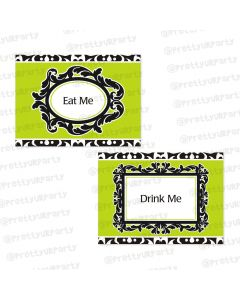 elegant damask food labels / buffet table cards
