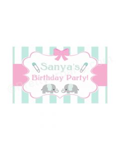 Elephant Birthday Theme Backdrop