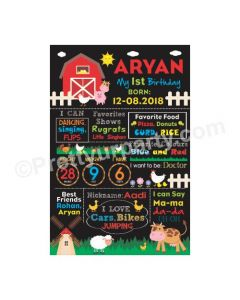 Farm Friends Theme Chalkboard Poster