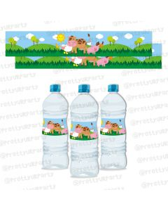 farm friends theme water bottle labels