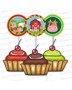 farm friends theme cupcake / food toppers