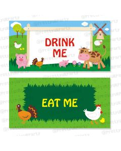 farm friends theme food labels / buffet table cards