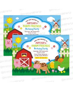farm friends theme invitations