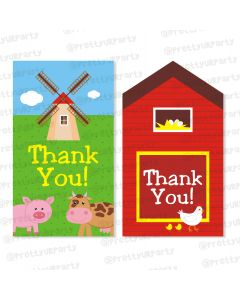 farm friends theme thankyou cards