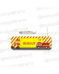 Fire Truck Theme Badge / Name Tag