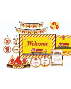 Fire Truck Party Decorations - 90 Pieces