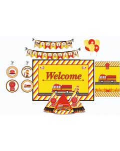 Fire Truck Party Decorations Package - 70 pieces