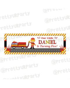 Personalized Fire Truck Birthday Banner 36in