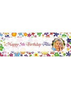 personalised flowers and butterflies birthday banner