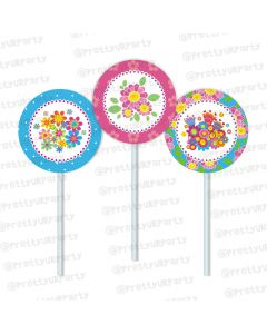 flowers theme cupcake / food toppers