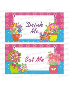 flowers theme food labels / buffet table cards