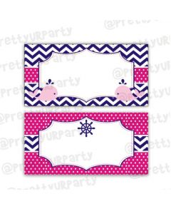 Girly Nautical Food Labels / Buffet Table Cards