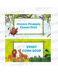 Lion King Theme Food Labels / Buffet Table Cards