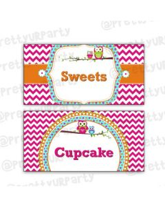 Girly Owl Food Labels