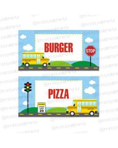 Wheels On The Bus Theme Food Labels / Buffet Table Cards