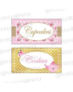 Tea Party Theme Food Labels   Buffet Table Cards