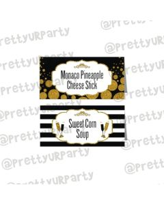 Gold and Black New Year Food Labels / Buffet Table Cards