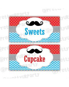 Moustache Food Labels / Buffet Table Cards