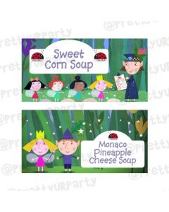 Ben and Holly's Little Kingdom Theme Food Labels / Buffet Table Cards