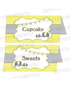 Elephant Baby shower food labels