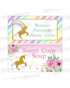 Unicorn Theme Food Labels / Buffet Table Cards