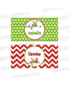 Christmas Owl Theme Food Labels / Buffet Table Cards