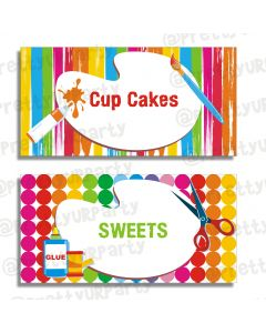 Art & Craft Party Food Labels / Buffet Table Cards
