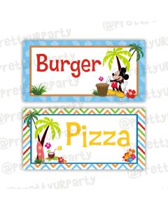 Mickey Mouse Luau Food Labels
