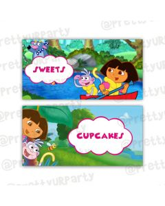 Dora the explore labels / buffet table cards