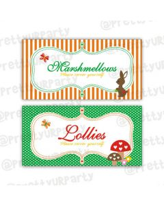 woodland/forest theme food labels
