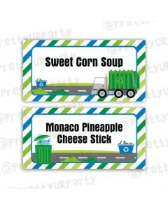 Garbage Truck Food Labels / Buffet Table Cards