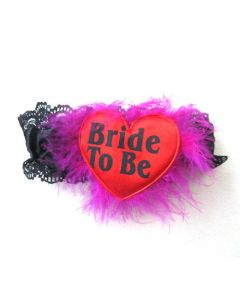 Bride To Be Garter Black With Red Heart