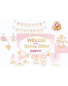 Gem and Glitter Party Decorations - 90 Pieces