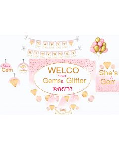 Gem and Glitter Party Decorations Package - 70 pieces