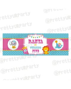 Personalized Girly Carnival Birthday Banner 36in