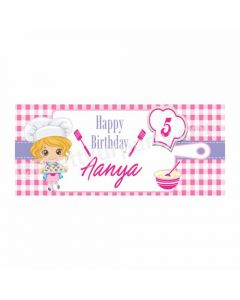 Personalized Little Chef Pink Theme Banner 30in