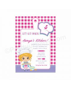 Little Chef Pink Theme Invitations