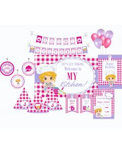 Little Chef Pink Party Decorations - 90 Pieces
