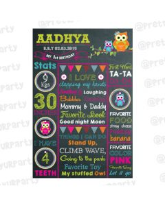 Girly Owl Chalkboard Poster