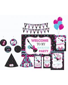 Girly Rockstar Party Decorations - 90 Pieces