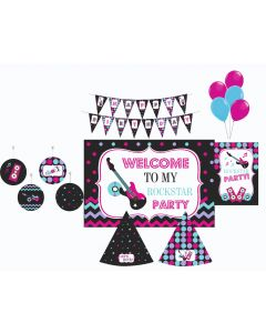 Girly Rockstar Party Decorations Package - 70 pieces