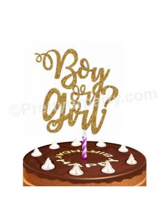 Boy or Girl Gold Cake Topper