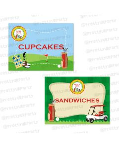 golf partee food labels / buffet table cards