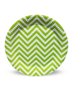 Green Chevron Paper Plate