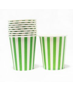 Green Stripes Paper Cups