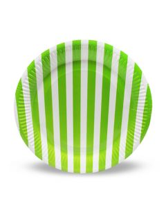 Green Stripes Paper Plates